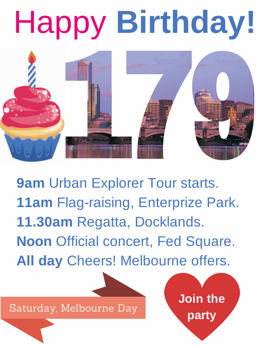 What's on Melbourne Day, click to see where you can join the fun.