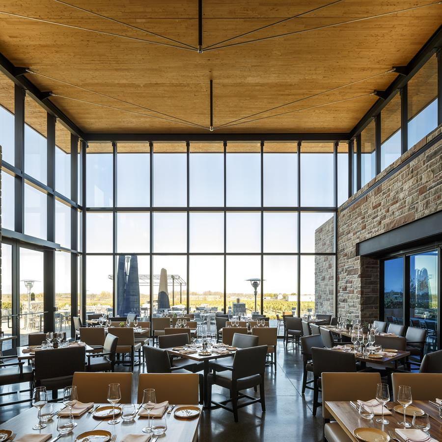 Main Dining Room with view towards the vineyard to the north