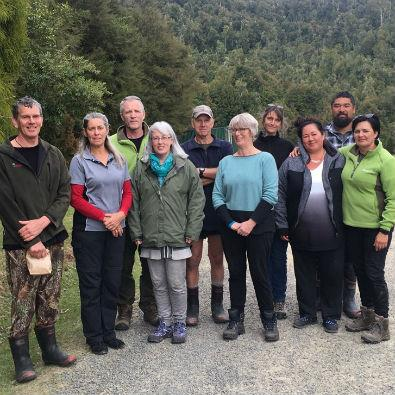 East Coast/Hawkes Bay Conservation Board members and DOC staff at Waiau Camp, Maungataniwha Station.