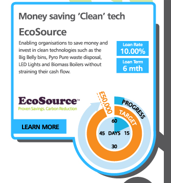 Money saving 'Clean' tech - EcoSource - Enabling organisations to save money and invest in clean technologies such as the Big Belly bins, Pyro Pure waste disposal, LED Lights and Biomass Boilers without straining their cash flow.