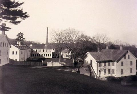 A historic black and white photo of Haywardville factories