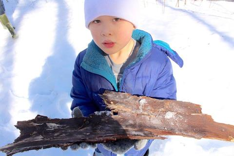 A boy studying a large piece of bark