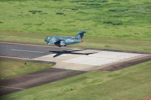 The aircraft (not pictured) continued past the other end of the runway.  Embraer
