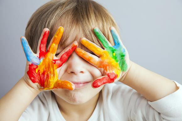 Boy with hand paint