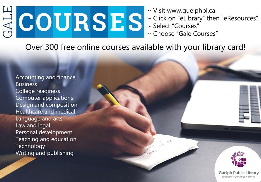 Enjoy over 300 free online courses available with your library card! Try Gale Courses today.
