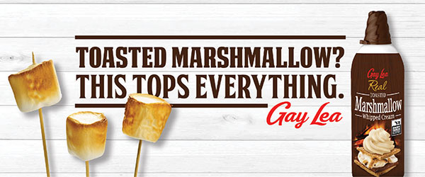 Photo of three grilled marshmallows on toothpicks and the newest flavour of Gay Lea Real whipped cream – toasted marshmallow.