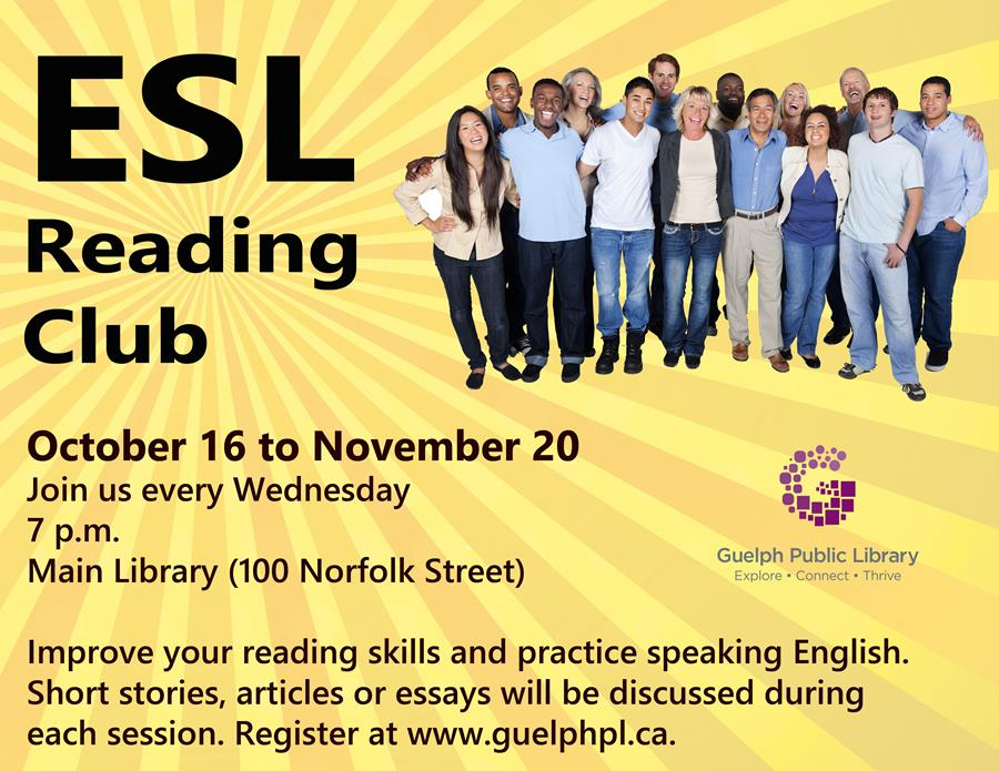 Improve your reading skills and practice speaking English. Short stories, articles and essays will be discussed during this 6-week session. For intermediate level English language learners.  Register once for the entire 6-week session.