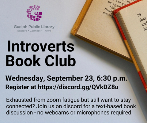 Register for our text-based Introverts Book Club on Wednesday September 23 at 6:30 p.m. at https://discord.gg/QVkDZ8u