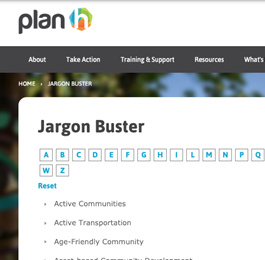 Screencap from the PlanH Jargon Buster website
