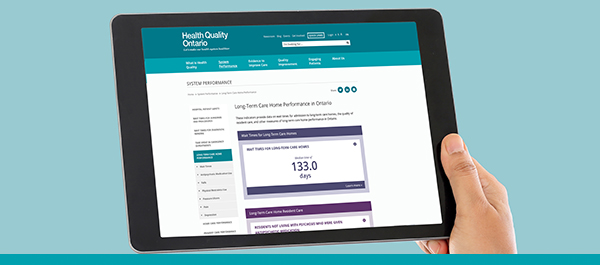 Tablet showing the Health Quality Ontario's webapge for long-term care reporting
