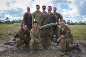 Soldiers from Alpha Gun, 107 Battery, 4th Regiment, Royal Regiment of Australian Artillery, at Shoalwater Bay.