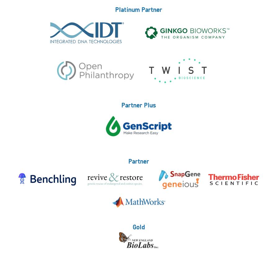 img: iGEM 2020 Sponsor Logos. IDT, Open Philanthropy, Ginkgo Bioworks, Twist Bioscience, GenScript, Benchling, Revive & Restore, SnapGene | Geneious, New England BioLabs