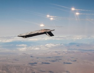 An F-35 releasing countermeasure flares during training.