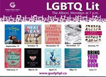 This is the poster for the LGBTQ Lit book club and it contains the covers of all the books selected for the 2018 to 2019 meetings. The February meeting will be held on Monday February 11 at 7:00 p.m. at the Albion Hotel. The book choice is Marriage of a thousand lies by S. J. Sindu.