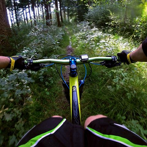 A picture of a mountain bike taken from their helmet