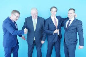 (L-R): Andrew O'Connor, co-founder, Relken Engineering (and now, Partner, KPMG); Steve Clark, lead partner Major Projects, KPMG; James Hunter, national managing partner, Markets & Growth, KPMG; and Ben Mailler, co-founder, Relken Engineering (and now, Partner, KPMG). Credit: KPMG Australia
