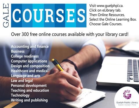 Enjoy over 300 free online courses through Gale Courses. All you need is your library card.