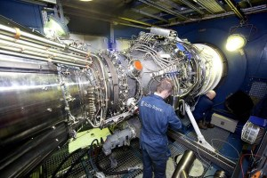 A Rolls Royce Engineer during a test of an MT30 gas turbine. The MT30 (based on the RR Trent 800 aero engine) will be fitted to the Type 26 frigates. Credit: Rolls Royce PLC