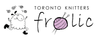 This is the icon for the Toronto Knitter's frolic. It has an image of a sheep running and juggling balls of yarn.