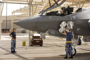 RAAF maintainers Sergeant Brooke Saunders and David Thomson work on the Australian F-35A Joint Strike Fighter flight line at Luke Air Force Base, Arizona.