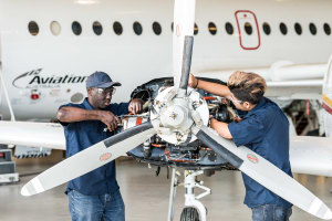 Two apprentices at the new training facility. Credit: Aviation Australia