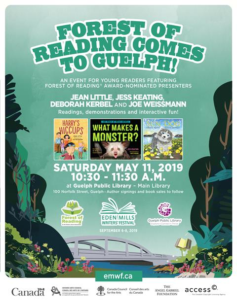 This is the poster promoting our partnership program with Eden Mills Writers' Festival and the Forest of Reading program.