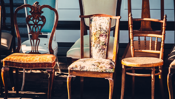 Rows of secondhand chairs