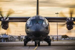 A No. 35 Squadron C-27J Spartan at RAAF Base Wagga during a day/night training sortie. The first of ten Spartans arrived in Australia in June 2015. Credit: Defence