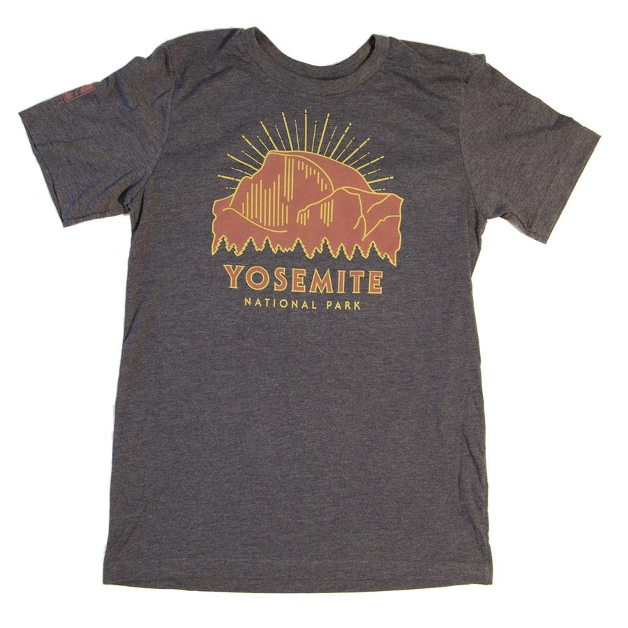 """An art deco-inspired design featuring """"Yosemite National Park"""" and a photo of Half Dome on a gray T shirt."""