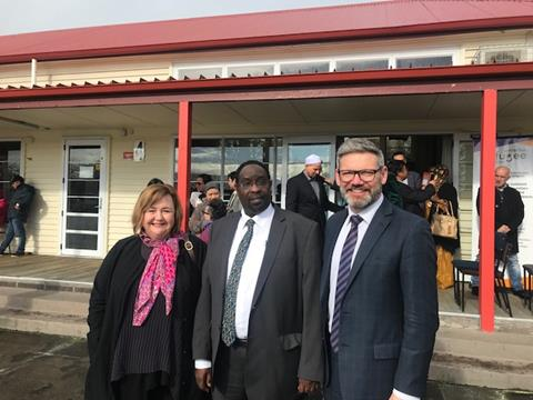 Pictured with Hon Iain Lees-Galloway [Immigration Minister] are Hon Megan Woods [Minister Earthquake Commission] and Ahmed Tani [Chair of the Refugee Centre].