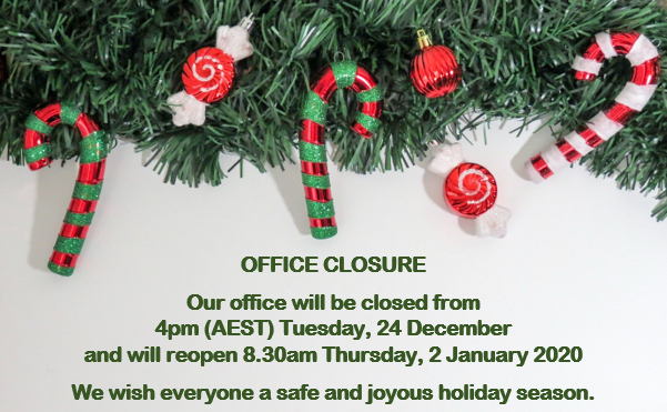 ASUM office closure from 25 Dec, reopening 2 Jan 2020