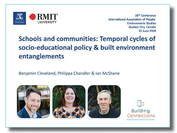 Building connections presentation at International Association of People-Environments Studies Quebec Canada June 2020 by Benjamin Cleveland, Philippa Chandler and Ian McShane.