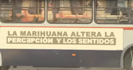 Bus with awareness message about marijuana use and health concerns