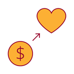 red and yellow icon of a dollar sign with an arrow to a heart