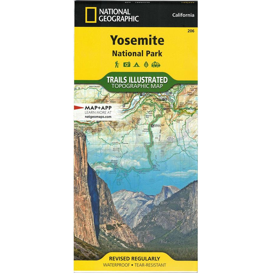 The front cover of a National Geographic topographic map of Yosemite National Park.