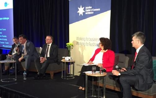 EEAA on stage with Anthony Albanese in Canberra at 2016 Australian Chamber Business Leaders Summit.