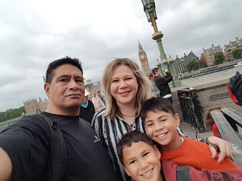 Lucia Davis with her family