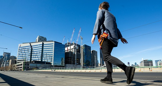 Pedestrian and Melbourne business district