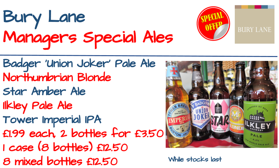 Bury Lane Farm Shop Ales Offer May 2018