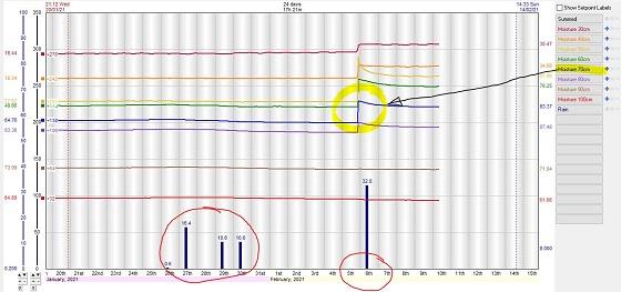 Youanmite individual sensor soil moisture graph has had soil moisture improvements on 5 February.