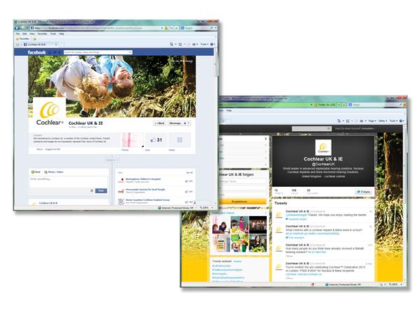 Cochlear's Facebook and Twitter pages