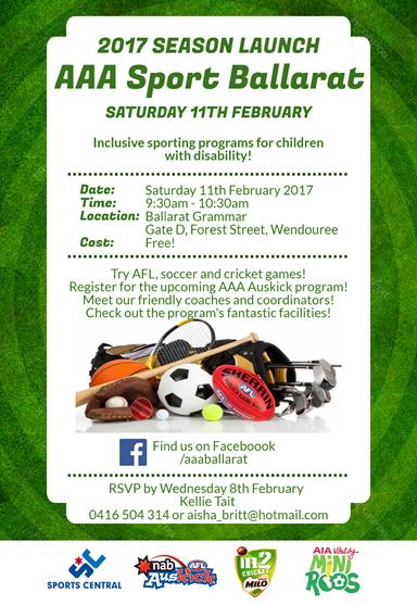 Poster promoting the AAA Sport Ballarat launch on 11 February