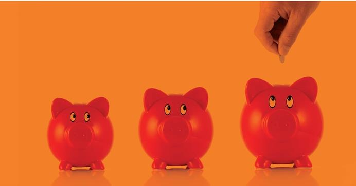 Row of three piggy banks