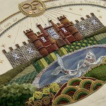 Raised Embroidery Sampler, depicting Hampton Court palace, in the 17th century style