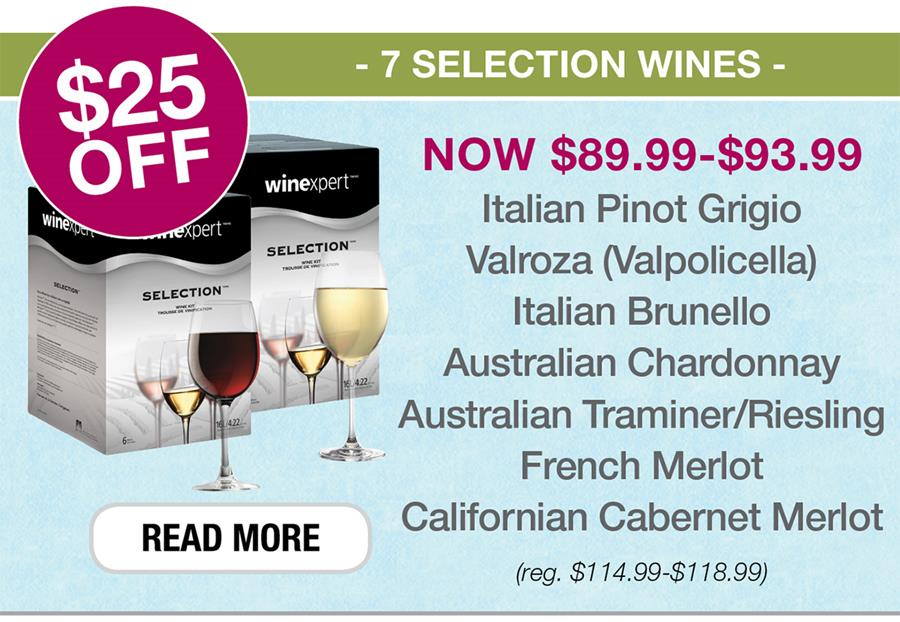 $25 OFF 7 Selection Wines. Click to see all.
