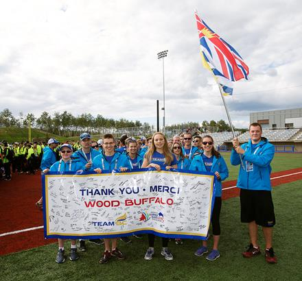 SOBC athlete Jesse Shade as Team BC flagbearer at the 2015 Western Canada Summer Games