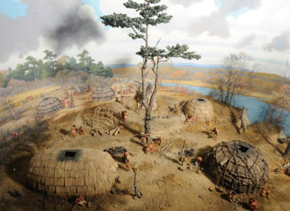 "Image of ""A Pawtucket Village on the Merrimack River, 500 Years Ago,"" diorama built by Guernsey-Pitman Studios of Cambridge, Mass., 1939."