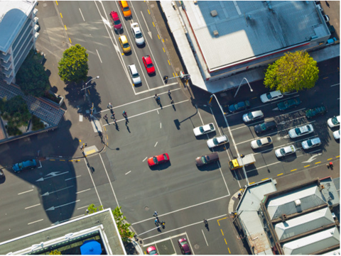 Aerial image of busy intersection