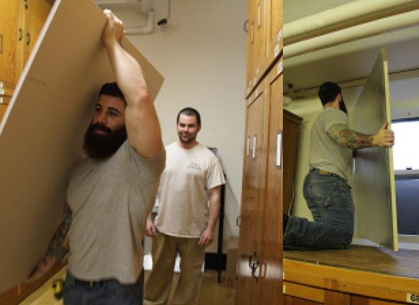 Image of carpenters renovating storage area