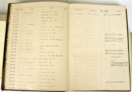 A page from one of the accession ledgers